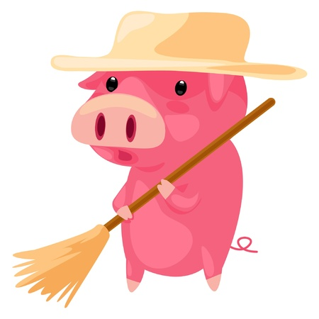 pig cleaning  Vector