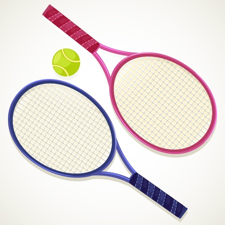 tennis girl: illustration Tennis rackets and ball  Illustration