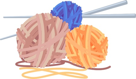 gomitoli di lana: palline colorate, illustrazione di filati