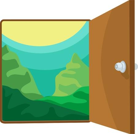 illustration open the door  Vector