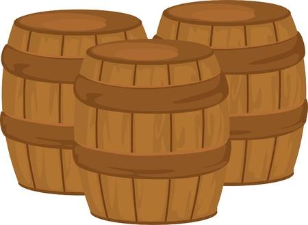 Wooden barrel isolated on white background  Ilustração