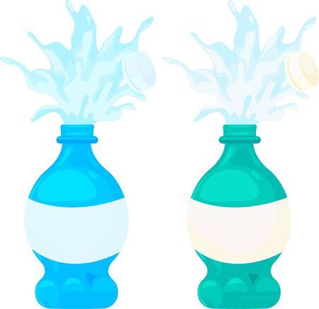 Three green Plastic water bottle