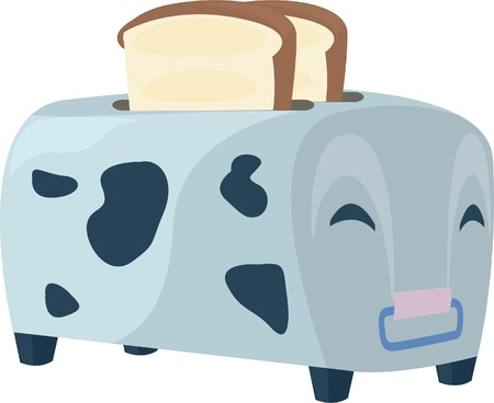 homemade bread: illustration cow toaster