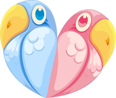 illustration birds with love  Ilustração