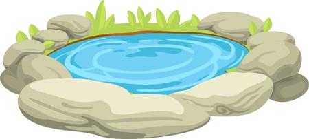 Stones in water with leaves  Ilustração