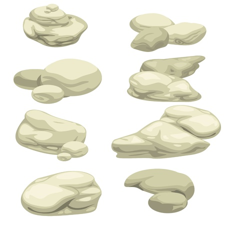 둥근 돌: 돌 세트 일러스트 레이터