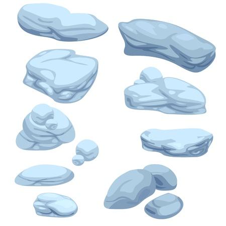 boulder rock: stone set illustrator  Illustration