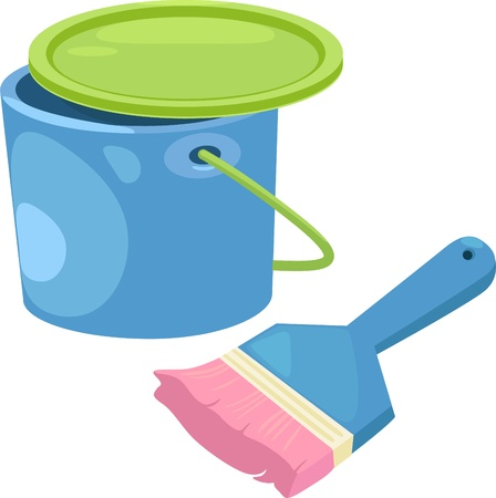 Paint bucket with brush sketch cartoon vector illustration  Vector