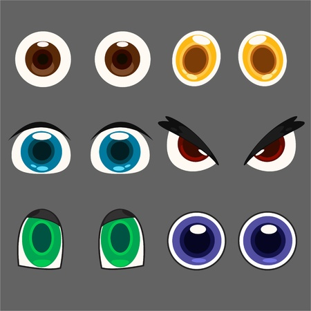 manga girl: eye set Illustration