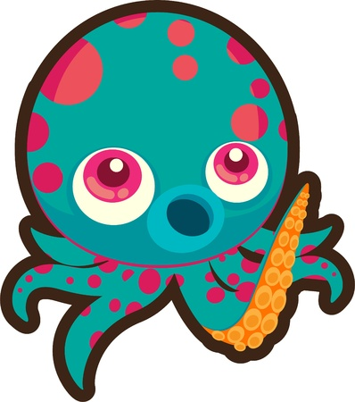 baby swim: illustration octopus Illustration