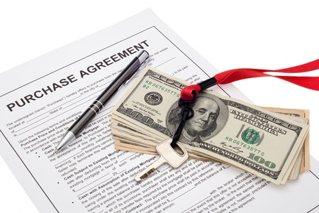 Property investment with purchase agreement Stock Photo