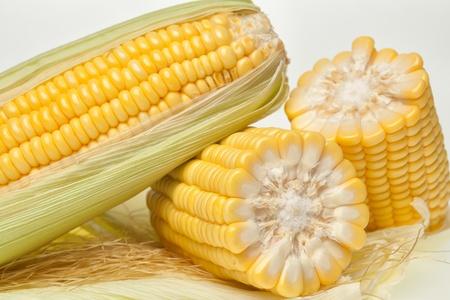 Fresh corn on the cob closeup photo