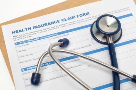 醫療保健: 醫療報銷醫療保險申請表和聽診器