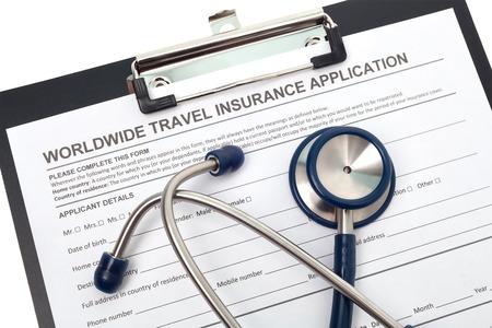 reimbursement: International travel medical insurance application with stethoscope