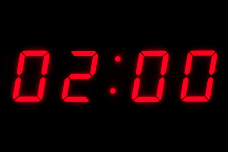 Digital timer counting with red digits photo