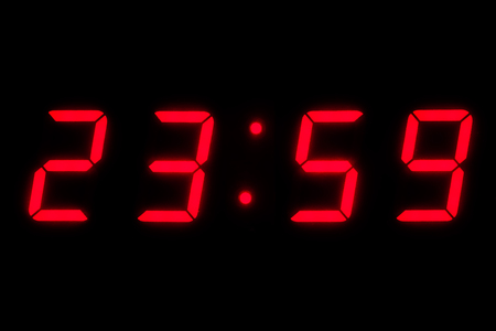 Digital clock countdown one minute to midnight