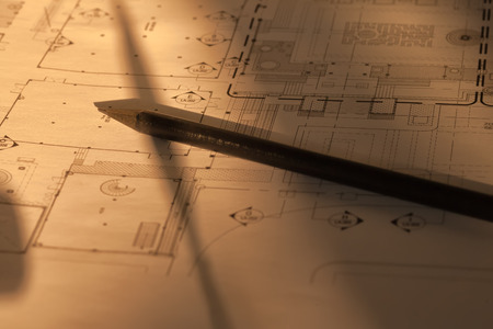 Architectural drawing with black pencil
