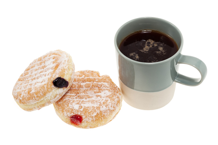 coffee jelly: Jam donuts and cup of coffee isolated on white background