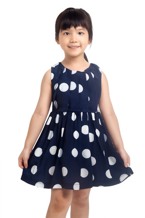 Smiling little girl isolated on white background photo
