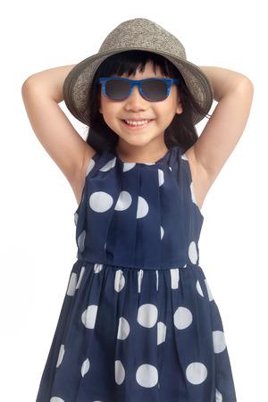 Fashion little girl isolated on white background photo