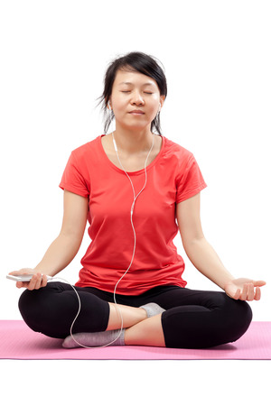 eyes closing: Peaceful woman listening music with eyes closing