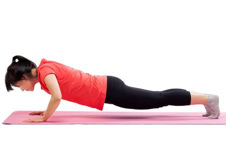 밀어 넣기 일을 여자 최대 운동은 흰색 배경에 고립