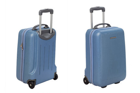 Suitcase in front and back isolated on white background photo