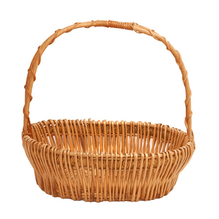 Empty wicker basket on white  Reklamní fotografie
