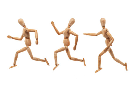 Wood men model with running and chasing pose isolated on white background photo