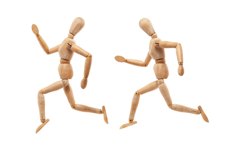 Wood men model with running away pose isolated on white background photo