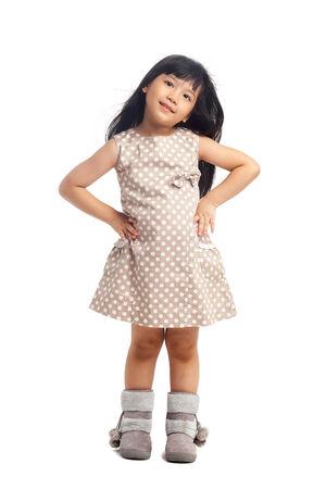 Fashion asian child on white background photo
