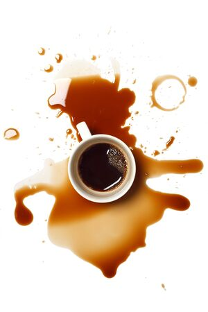 coffee spill: coffee spill stain accident drop white background