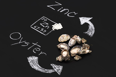 supplementary: oyster zinc supplementary food capsule periodic table  blackboard Stock Photo