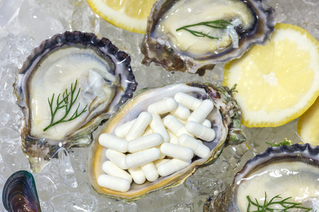 supplementary: Zinc capsule supplementary  food oyster seafood lemon dill fresh mussel