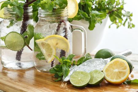 refreshment: lime lemon soda mint rosemary fresh drink summer refreshment