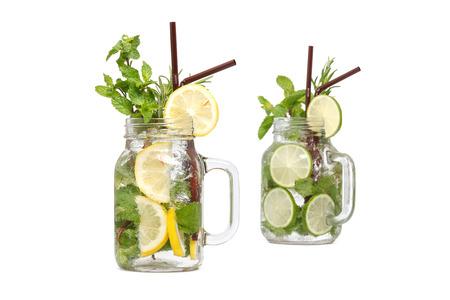 refreshment: lemon lime soda mint rosemary fresh drink summer refreshment isolated