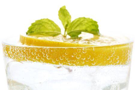 lemon soda mint fresh drink summer refreshment still life isolated white background