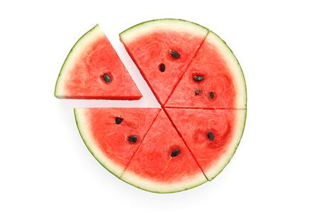 watermelon split slide yummy fresh summer fruit sweet dessert white background