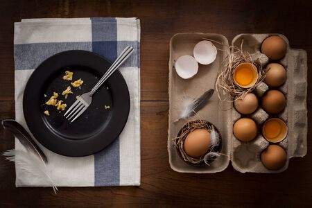 selenium: eating scrambled eggs flat lay still life y