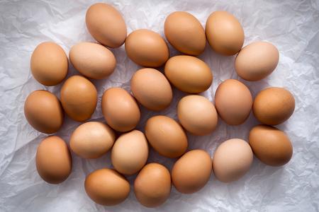 aves de corral: huevos de pollo aplanada naturaleza muerta