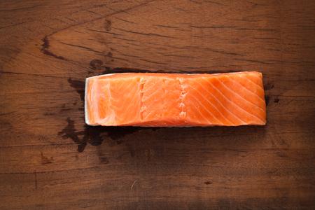 rustic food: salmon fresh steak food ingredient rustic still life wood background