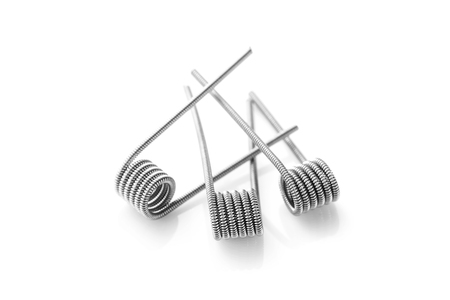 Clapton coils for vaping on a white background macro closeup wire steel