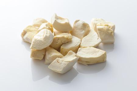 durian zibethinus king of fruit freeze dry on white background delicious dessert tasty snack