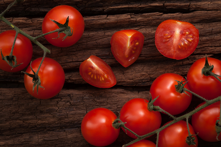 organic fresh cherry tomatoes on wooden background still life vegetable raw fresh food healthy