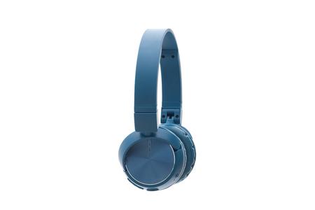 blue headphone on white background isolated studio pack shot equipment