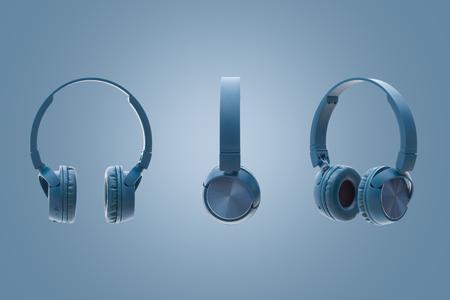 blue headphone on blue background studio pack shot equipment