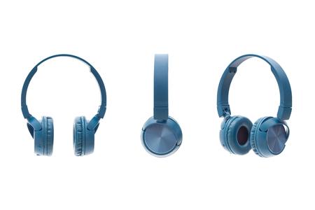 wireless blue headphone on white background isolated studio pack shot equipment