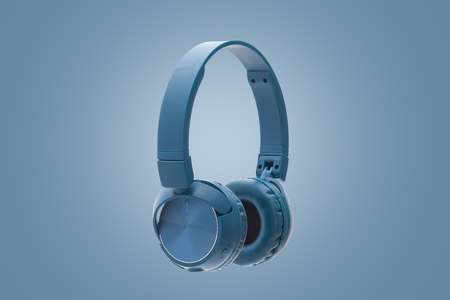 wireless blue headphone on blue background studio pack shot equipment