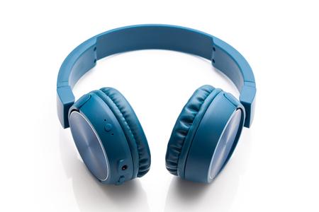 wireless blue headphone on white background studio packshot equipment Imagens
