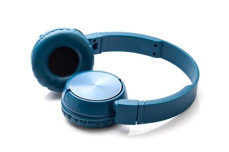 blue headphone on white background studio packshot equipment